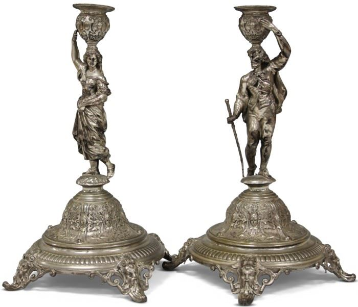 LOT #7000 - PAIR OF SILVER CONTINENTAL FIGURAL CANDLE STANDS