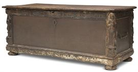 LOT #7004 - 18TH C. SPANISH CHEST WITH FIGURAL CARVINGS