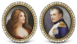 LOT #7002 - PAIR OF FRAMED FRENCH PAINTINGS ON PORCELAIN
