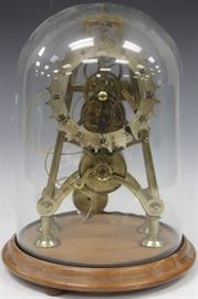 """LOT #7017 - EARLY SKELETON CLOCK WITH GLASS DOME, 12"""" H"""