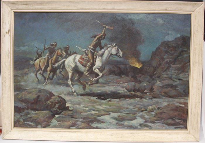 "LOT #7020 - R. CROOKS, OIL ON BOARD  ""THE RAIDERS"""