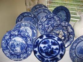 Flow Blue Pictorial plates