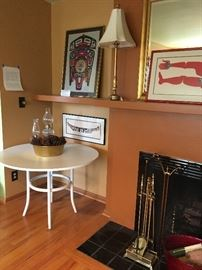 """Formica topped mid century style table - 42""""round by 30""""h asking $90"""