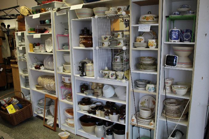 A portion of a large selection of Dinnerware and Cookware. To include McCoy, Pyrex, Hull, Fiesta Ware, and many others.