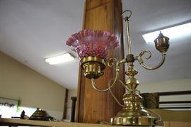 Fenton Glass Brass Lamp