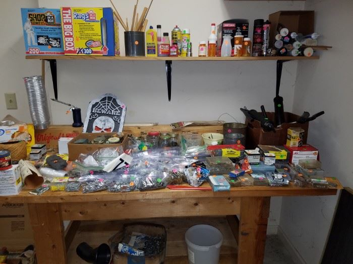Screws, nails, etc., and even the work bench is for sale!