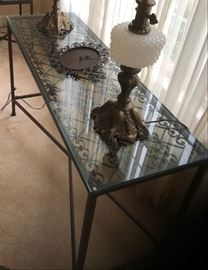 Beautiful iron and heavy glass sofa/entry table