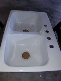 White enamel, cast-iron double sink--never used!