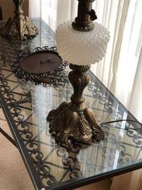 Antique hobnail matching lamps