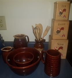 Vintage Hull and Marcrest stoneware and wooden canister set