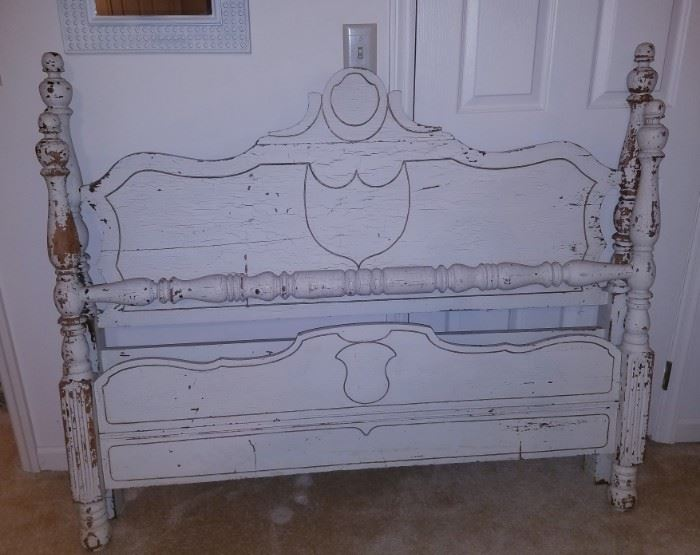 Vintage double-size bed w/frame (distressed)