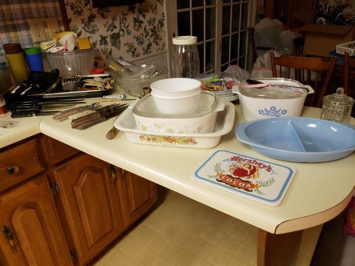 Corningware, vintage Pyrex, etc.