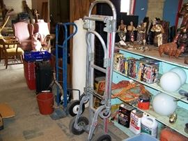 Hand trucks are not for sale. eight track tapes, mexican paper machette figurines