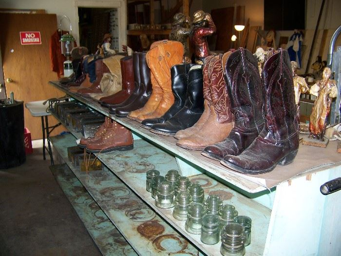 Cowboy and work boots.  Insulators.