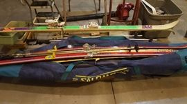 A pair of Pre downhill skis and a pair of Fisher cross country skills + bag