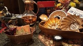 Interesting array of copper kitchenware + pots