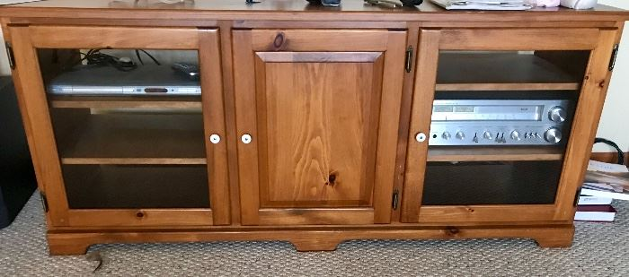 TV stand with cabinets for stereo, gaming consoles etc.