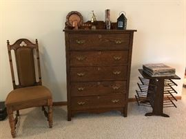 Antique pieces including this dresser / chest of drawers, magazine rack & occasional chairs