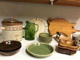 Kitchen getting set up, pots pans, Pyrex, crock pot, sunbeam mixer....