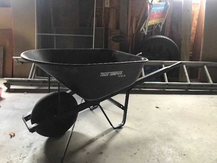 wheel barrel, ladders, misc garage items