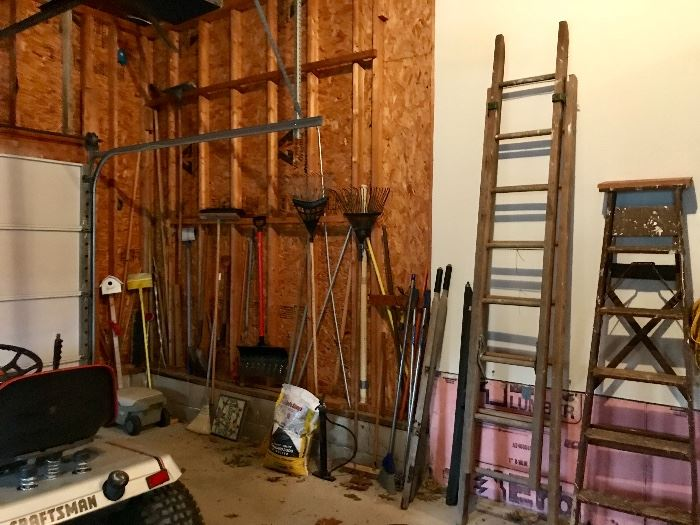 Yard tools, rakes, ladders