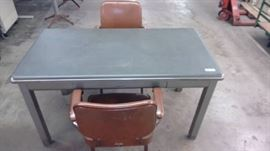 Metal Desk and Two Metal Chairs