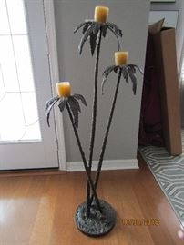 "46"" METAL SCULPTURE BY STANLEY KELLER. (PALM TREE) WITH 3 CANDLE HOLDERS.. VERY UNIQUE.."