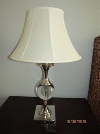 CHROME AND GLASS BALL LAMPS.. WITH CHROME BASE... (2)