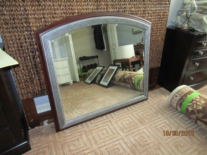 43X42 CONVENTIONAL STYLE MIRROR WITH BROWN WOOD AND GREY BORDER