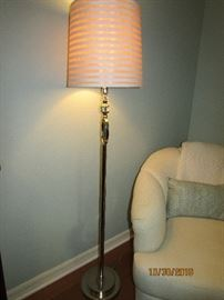 """TALL 28"""" CONTEMPORARY LAMP CHROME WITH GLASS AND CREAD SHADE"""