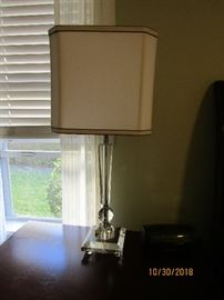 """2 28"""" CONTEMPORARY LAMP.. CHROME WITH GLASS AND CREAM SHADE"""