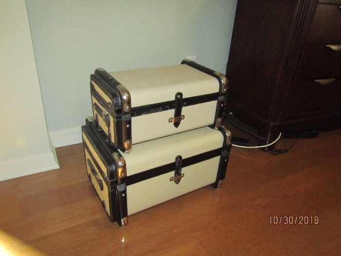 STACK OF CREAM AND DARK BROWN LEATHER DECORATOR LUGGAGE.. ACCENT PIECE