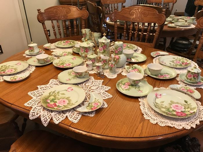 Beautiful hand painted Lefton China and a glimpse of the Pulaski dining room table and chairs