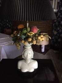 Ceramic bust on teak base with ceramic fruit.  Works