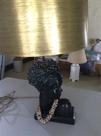 Hand carved teak lamp base. Works