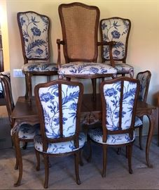 Dining Table w Additional Leaf, 6 Side Chairs and 2 Arm Chairs (plenty of matching upholstery fabric as well)