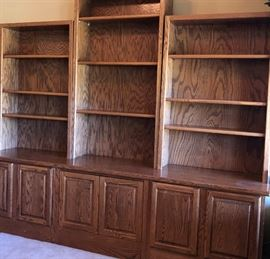 Oak Wall Unit/Bookcase (Base + 3 Bookshelves) Adjustable Shelving