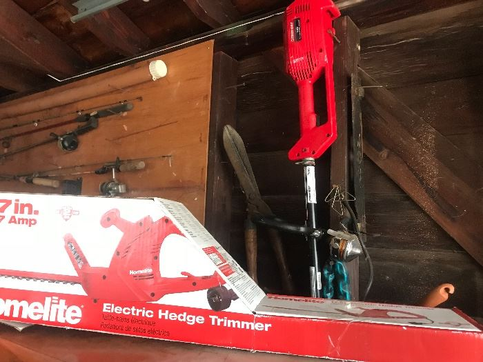 Lawn equipment including trimmers, weed walker, shovels, raked, axes, etc