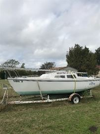 "1984 Catalina 22"" sailboat  5hp motor and trailer- all titled, current tags, freshwater only-$3000 or best offer!"