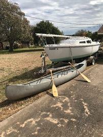 """17"""" Aluminum canoe with paddles $500"""