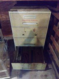 Vintage Simplicity fabric file cabinet