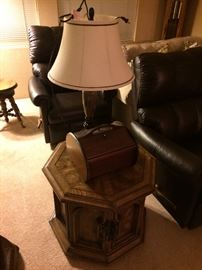 Leather Lazy boy recliners, end tables, lamps