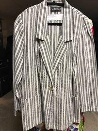 1980s oversized stripe cotton jacket
