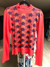 1970's red and navy geometric sweater