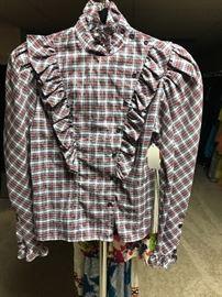 1970's plaid prairie style blouse