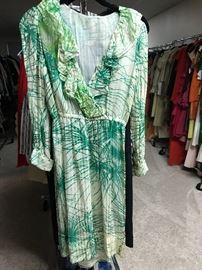 1970's silk chiffon with metallic thread dress