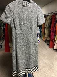 1960's wool herringbone dress with geo pattern hem