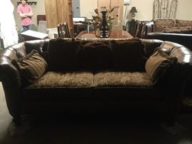 Drexel Heritage leather and upholstered sofa