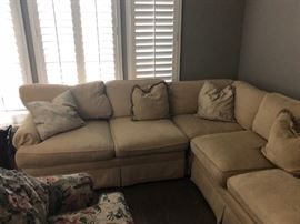 Clyde Pearson custom sectional couch neutral beige, originally $7,000. Asking $900. Has a few stains that professional cleaning should take of. Sturdy well made and very comfortable.