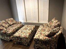Floral love seats and long ottoman. Each love seat $175/each; ottoman $125. Can be sold separately